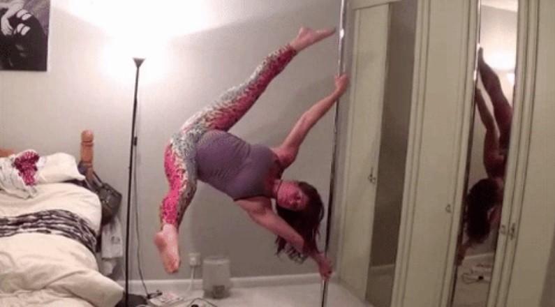 Britânica pratica pole dance pouco antes de dar à luz
