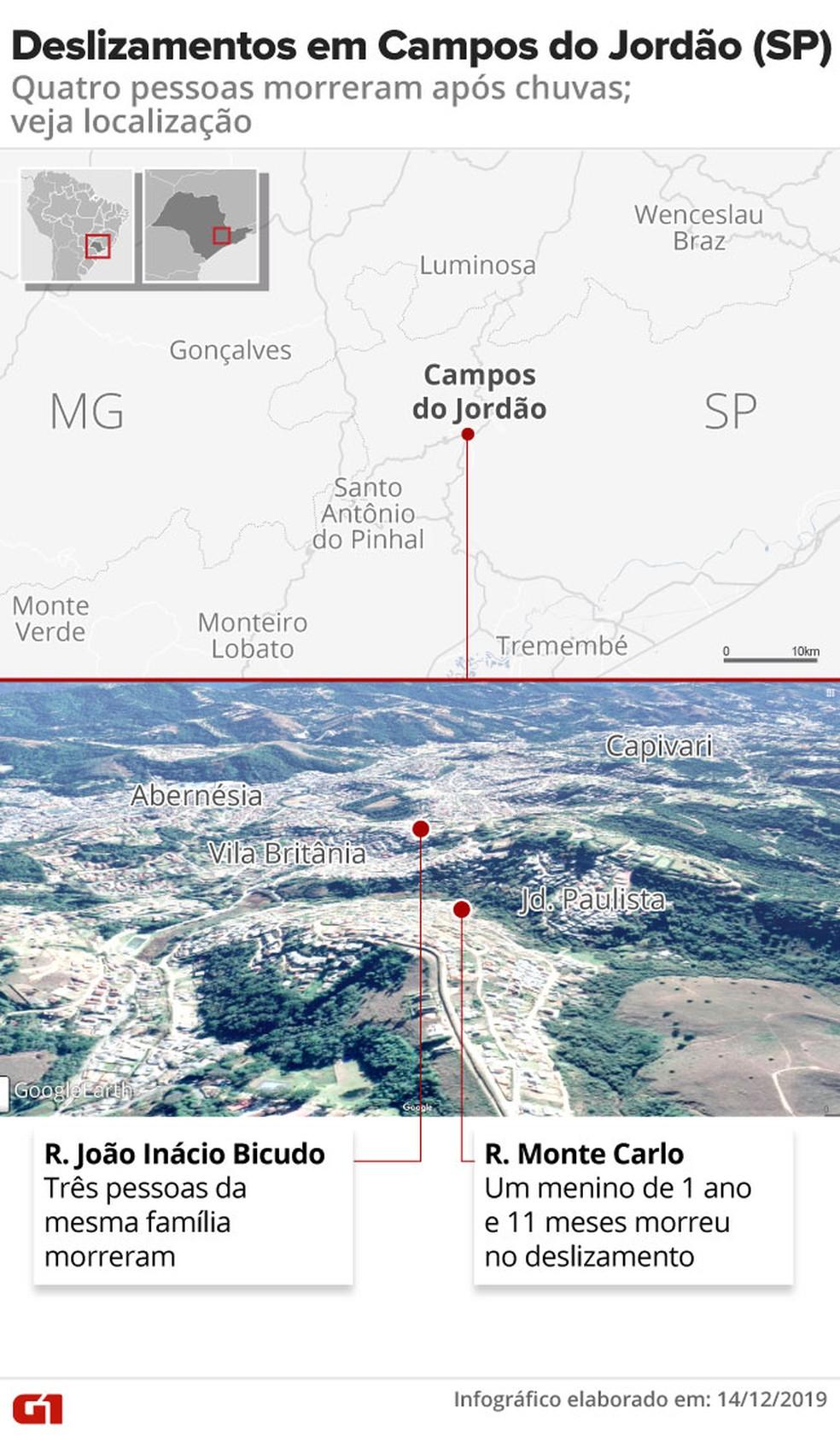 Mapa de onde ocorreram os deslizamentos em Campos do Jordão — Foto:  Rodrigo Cunha/ G1