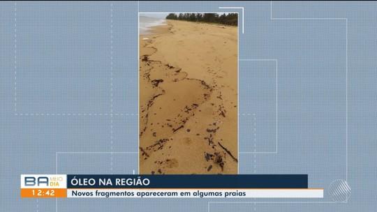 Fragmentos de óleo voltam a aparecer em praias dos municípios de Prado e Caravelas, no extremo sul da Bahia