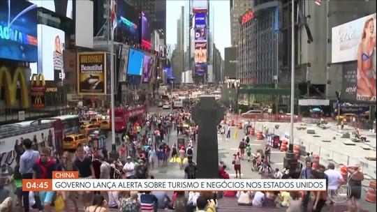 Governo chinês lança alerta sobre turismo e negócios nos EUA