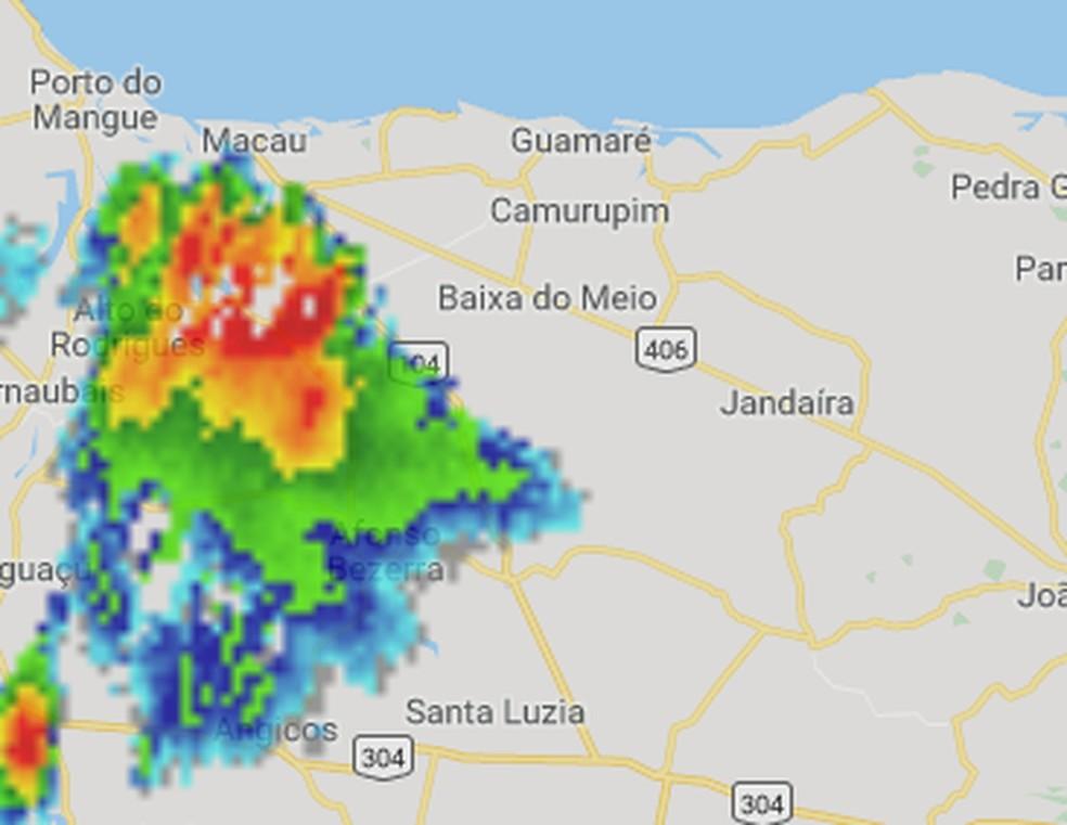 Célula de instabilidade provocou ventania em Macau, RN segundo a Emparn — Foto: Emaparn/Divulgação