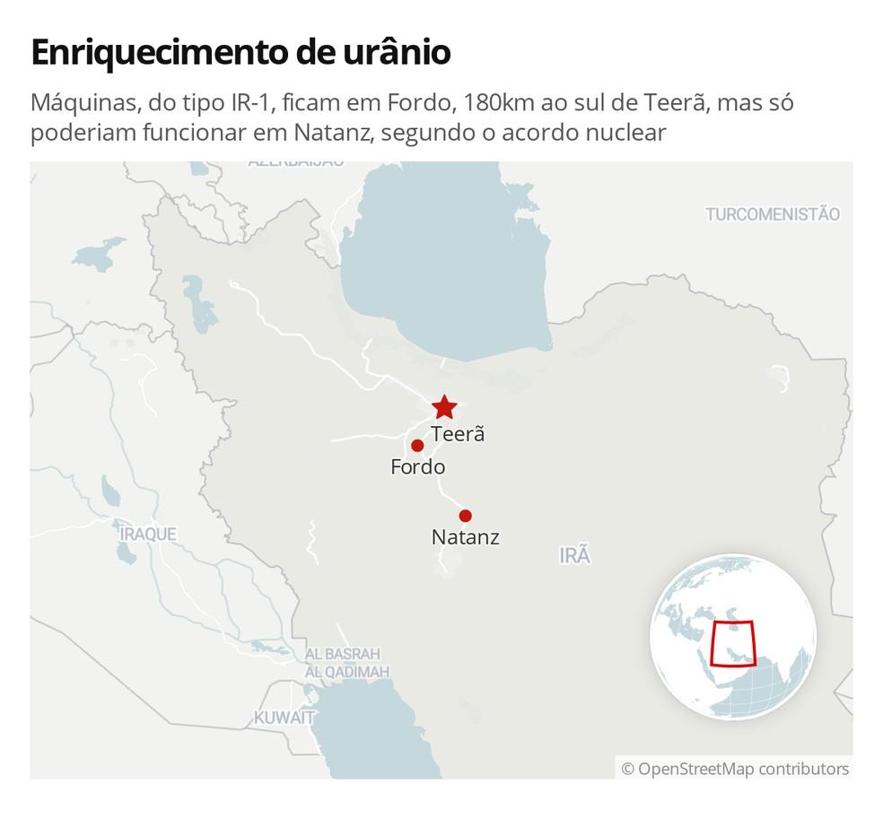 Máquinas, do tipo IR-1, ficam em Fordo, 180km ao sul de Teerã, mas só poderiam funcionar em Natanz, segundo o acordo nuclear — Foto: G1