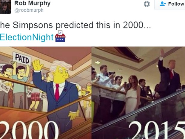 O famoso episódio dos 'Simpsons', com a acertada previsão feita 16 anos atrás, também não poderia faltar (Foto: Reprodução)