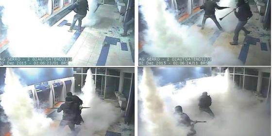 ATAQUE  Imagens de uma das explosões de caixas eletrônicos em agência da Caixa. Peritos encontraram DNA de um mesmo criminoso em seis furtos desse tipo, em um intervalo de dois anos  (Foto: Reprodução)