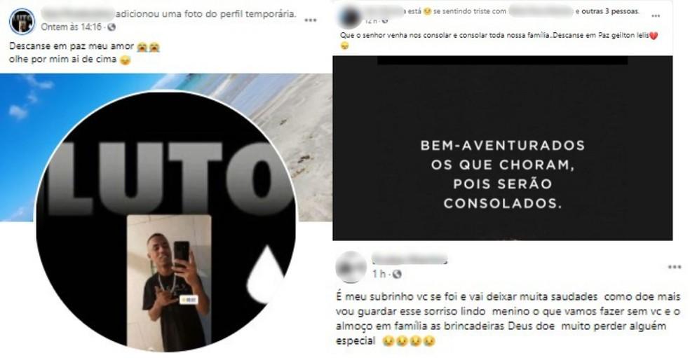 Familiares lamentaram a morte de Geilton nas redes sociais — Foto: Reprodução/Facebook