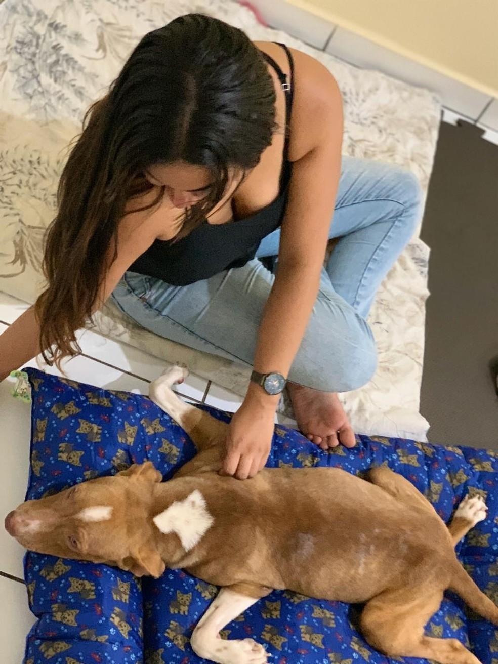 Benjamin com a nova dona, Michele Taborga, que deu um lar ao cachorro. — Foto: Michele Taborga/Arquivo Pessoal