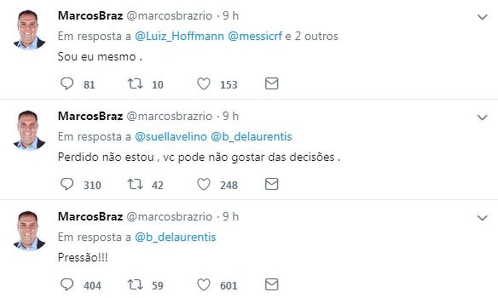 Marcos Braz tem interagido com torcedores no Twitter e recebido críticas relacionadas a Abel — Foto: Reprodução