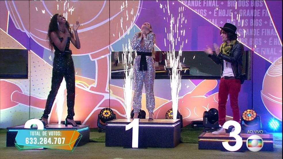 Juliette, Camilla de Lucas e Fiuk sobem no pódio do BBB21 — Foto: Globo