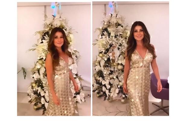 A cantora Paula Fernandes, que mora em Minas Gerais, mostrou sua árvore com adornos brancos e prateados (Foto: Reprodução)