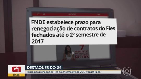 G1 no Bom Dia Minas: Prazo para renegociar Fies do 2º semestre de 2017 vai até julho