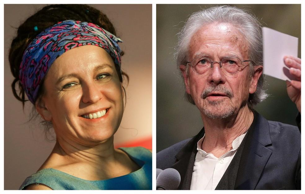 Vencedores dos prêmios Nobel de Literatura de 2018 (Olga Tokarczuk) e 2019 (Peter Handke). — Foto: Beata Zawrel e Georg Hochmuth / AFP