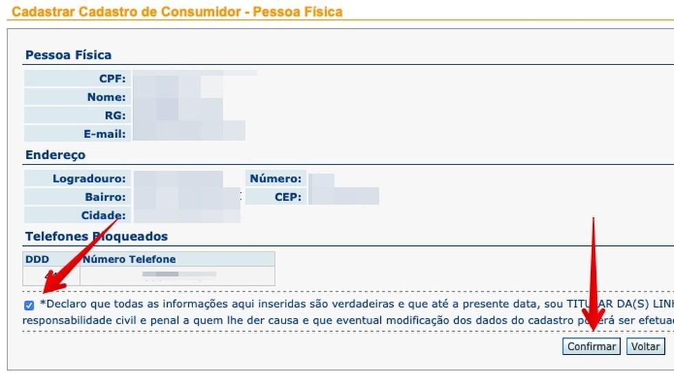 Confirme o bloqueio das ligações para os números informados — Foto: Reprodução/Helito Beggiora