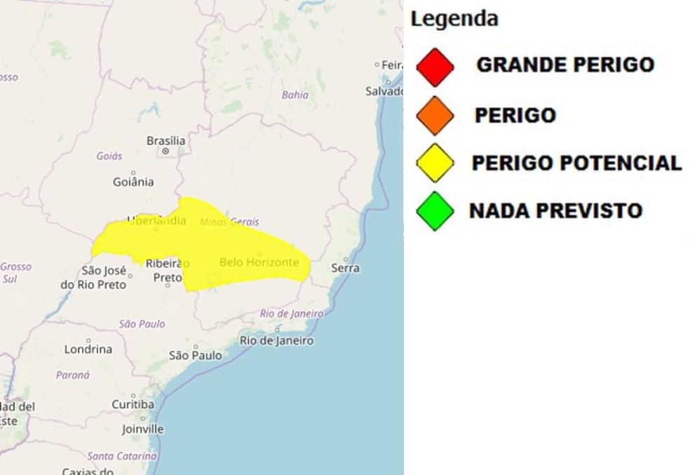 Área com risco potencial de chuva em Minas Gerais — Foto: Reprodução/Inmet