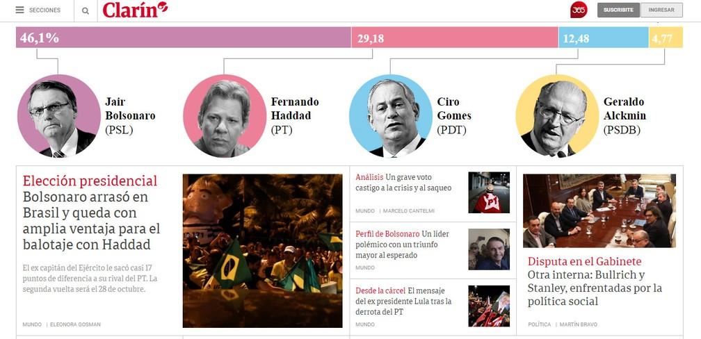 """Primeira página do site do jornal """"El Clarín"""", da Argentina, destaca resultado das eleições no Brasil — Foto: Reprodução/El Clarín"""