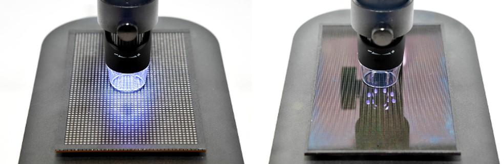 À esquerda, display com LEDs e à direita, tela com MicroLEDs (Foto: Divulgação/Samsung)