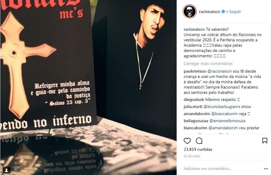 Perfil do grupo racionais MC's no Instagram celebra inclusão do disco na lista da Unicamp. (Foto: Reprodução)