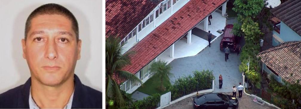 O PM reformado Ronnie Lessa e buscas na casa dele: apontado como autor dos disparos — Foto: Reprodução/TV Globo