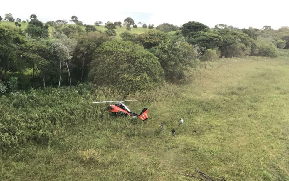 Helicóptero usado na execução de Gegê do Mangue foi achado em Fernandópolis — Foto: Divulgação