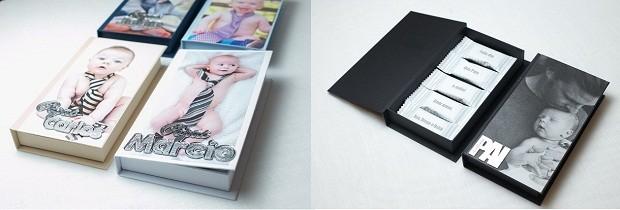 Caixas personalizadas | A caixa de chocolates com cinco barrinhas de chocolate pode ser personalizada com nomes e palavras, enquanto a caixa para gravata leva foto e nome escolhidos pelo cliente | Da Dot Paper, caixa de chocolates R$75,00, caixa para gravata R$38,00. (Foto: Divulgação)