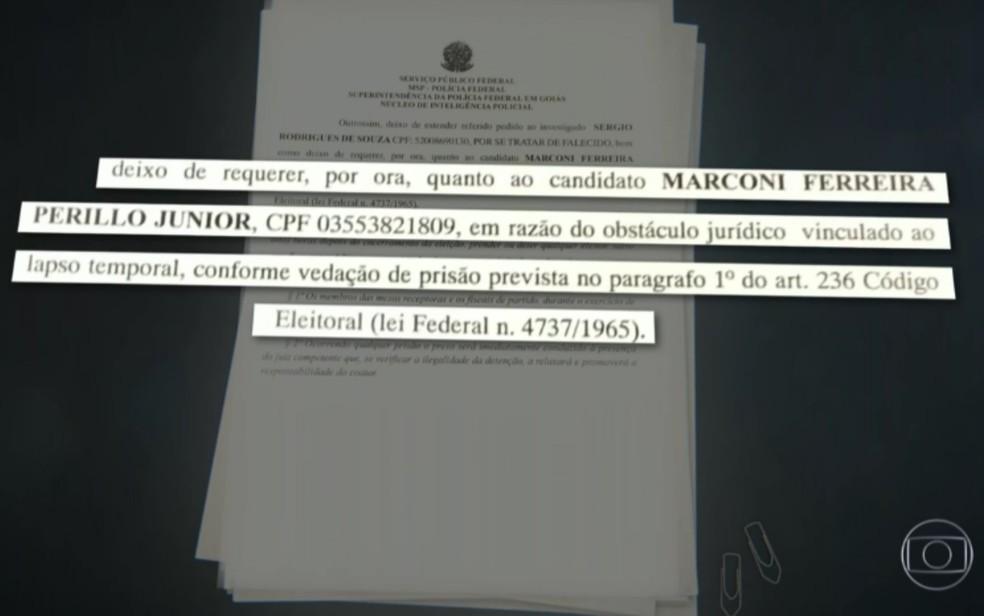 Documento da Justiça com explicação sobre o motivo de não ter sido pedida a prisão do ex-governador de Goiás Marconi Perillo — Foto: Reprodução/TV Globo