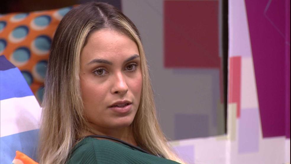 Em conversa com Caio, Sarah opina sobre segundo Paredão do BBB21: 'Ele tem que mostrar que foi injustiçado' — Foto: Globo