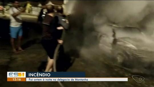 Carros pegam fogo em pátio de delegacia em Montanha, ES