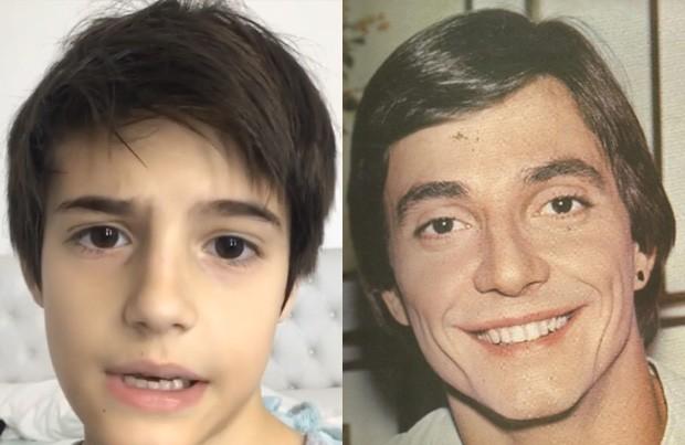 Záion, caçula de Fábio Jr., e o pai quando mais novo (Foto: Reprodução/Instagram)