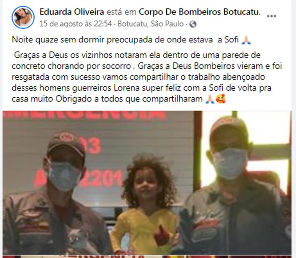 Eduarda publicou um agradecimento ao trabalho dos bombeiros nas redes sociais — Foto: Facebook/Reprodução