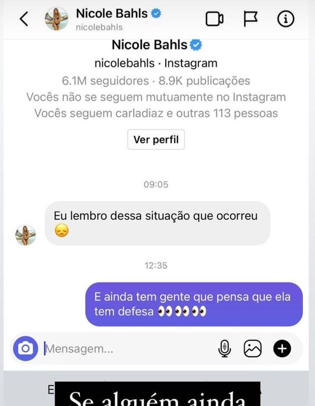 Print de Laércio mostrando conversa com Nicole Bahls confirmando a história de Karol Conka (Foto: Reprodução/ Instagram)