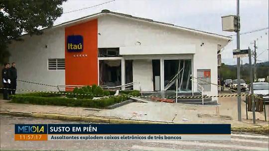 Caixas eletrônicos de três bancos são explodidos em Piên
