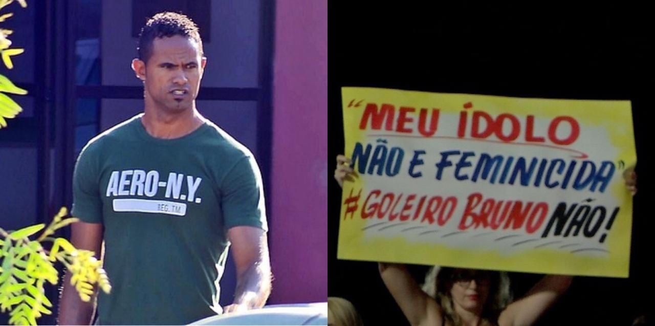 Mulheres protestam em frente a estádio contra a contratação do goleiro Bruno por time de MT