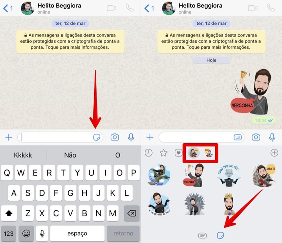 Enviando figurinhas no WhatsApp — Foto: Reprodução/Helito Beggiora
