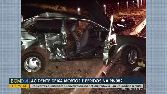 Três pessoas morrem e quatro ficam feridas em acidente na PR-082, em Douradina
