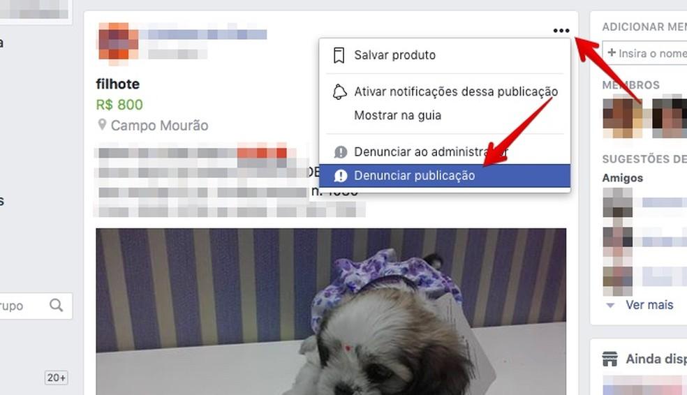 Denunciando publicação no Facebook pelo PC (Foto: Reprodução/Helito Bijora)