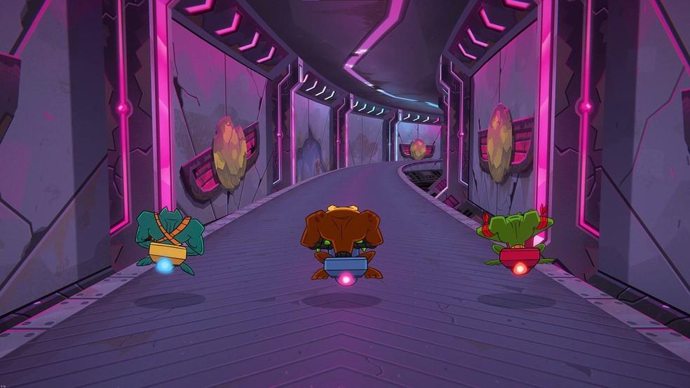 O gameplay de Battletoads não se resume apenas à pancadaria: a fase da moto também está de volta — Foto: Divulgação/Microsoft Studios