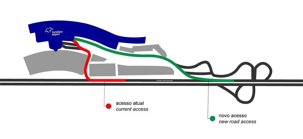 Nova via de acesso ao aeroporto de Fortaleza — Foto: Fraport/Divulgação