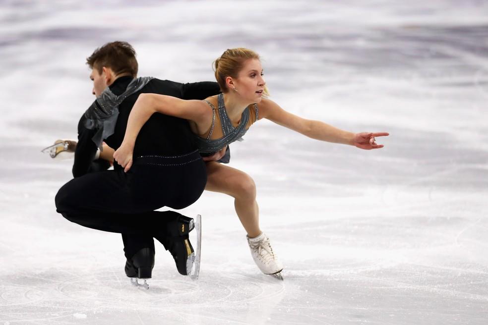 Harley Windsor e Ekaterina Alexandrovskaya em ação nos Jogos de PyeongChang — Foto: Getty Images