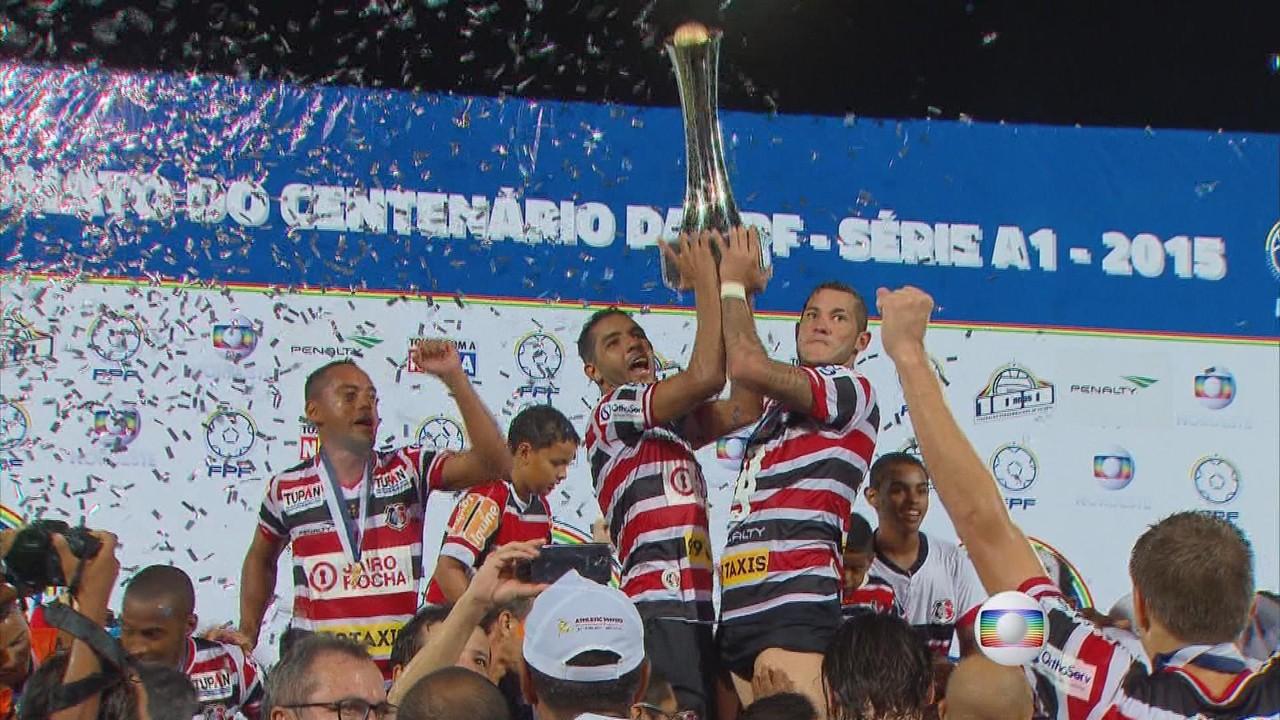 Santa Cruz vence o Salgueiro, por 1 a 0, e comemora título de campeão pernambucano de 2015