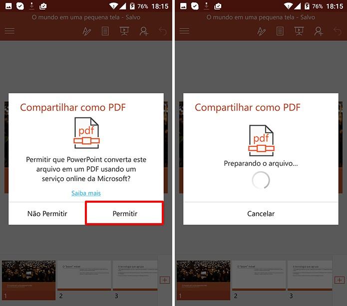 PowerPoint pedirá permissão para converter apresentação para PDF no Android (Foto: Reprodução/Elson de Souza)