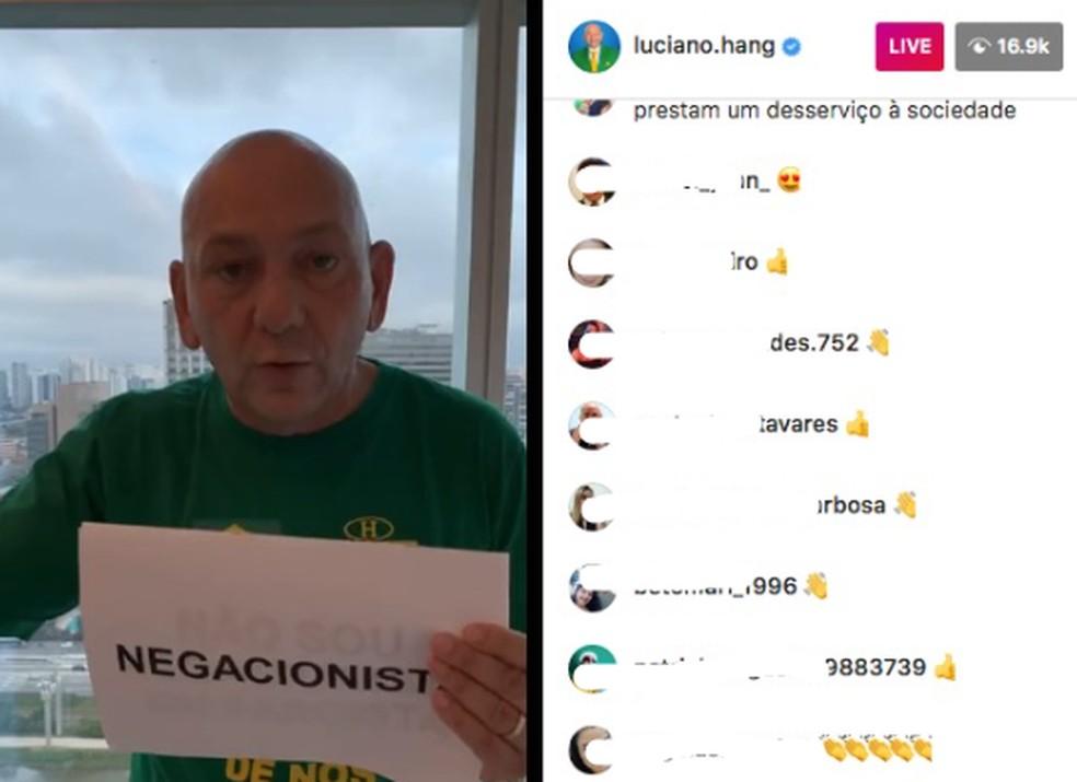 O empresário Luciano Hang fala sobre a Covid-19 em live no Instagram gravada do hospital. — Foto: Reprodução/Instagram