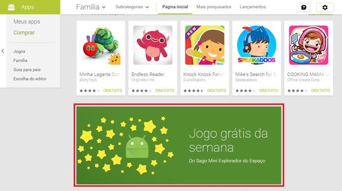 Encontre o banner da promoção Jogo grátis da semana e instale o jogo (Foto: Reprodução/Paulo Vasconcellos)