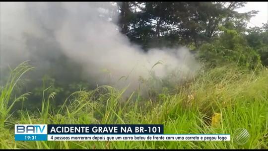 Batida entre carro e carreta seguida de incêndio em veículo deixa mortos na Bahia