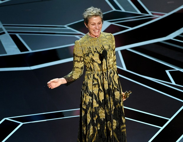 Frances McDormand: prêmio de melhor atriz pedindo direitos e igualdade (Foto: (Photo by Kevin Winter/Getty Images))