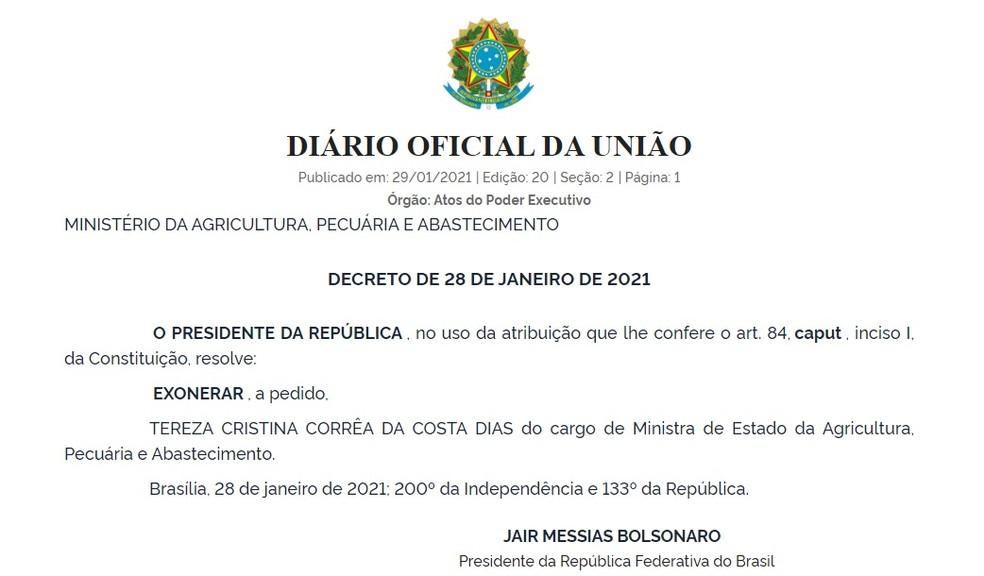 Tereza Cristina — Foto: Reprodução/Diário Oficial