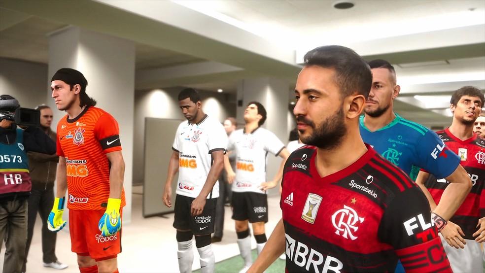 Everton Ribeiro prestes a entrar em campo pelo Flamengo no PES — Foto: Konami