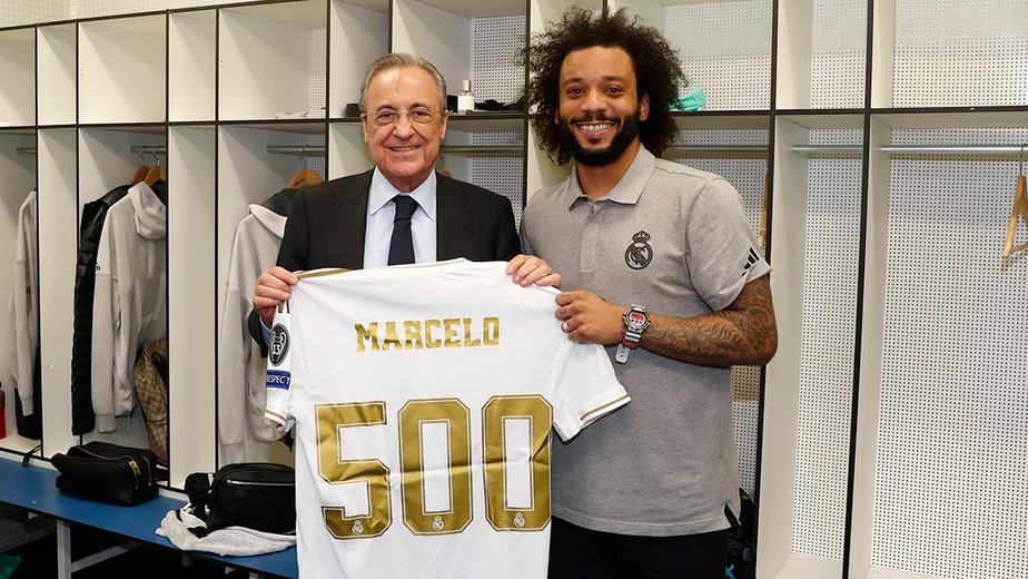 Marcelo completa 500 jogos pelo Real Madrid e recebe homenagem:
