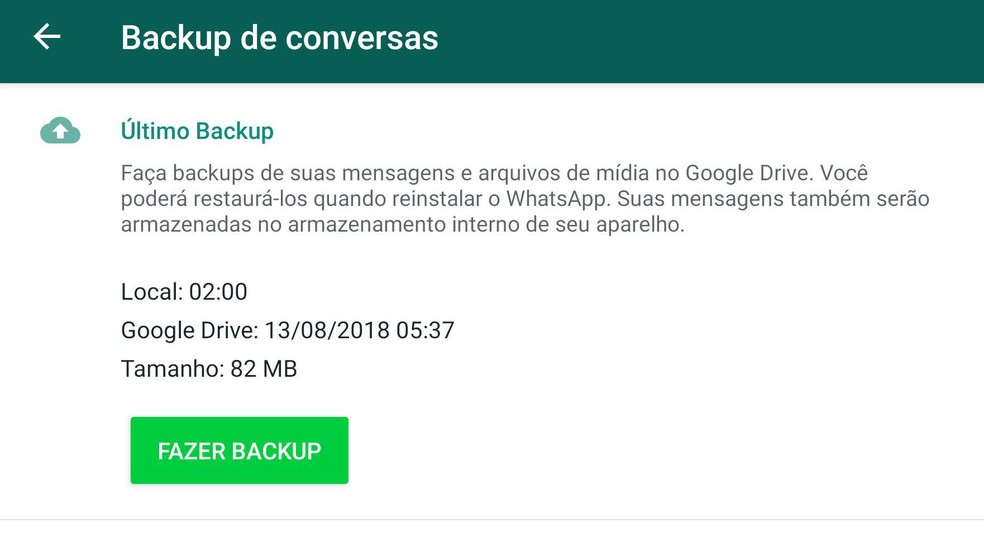 Configurações de backup no WhatsApp para Android. — Foto: Reprodução
