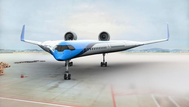 O formato em V do Flying-V promete reduzir em 20% as emissões de CO2 dos aviões. (Foto: Divulgação)