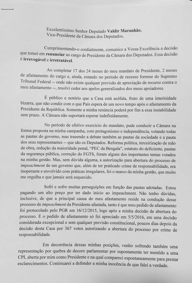 Primeira página da carta de renúncia de Eduardo Cunha (Foto: Reprodução)
