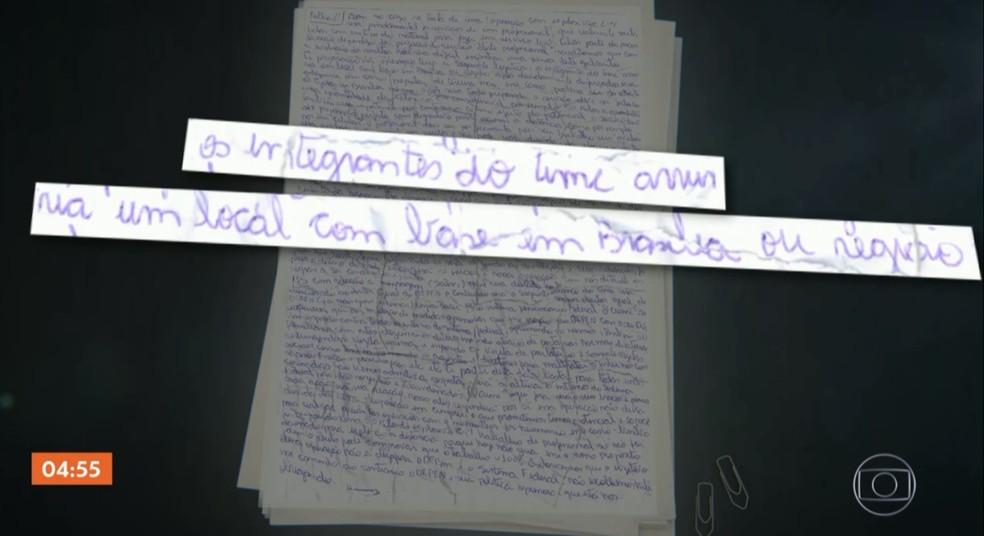 Bilhete mostra plano criminoso de facção em cidades do Brasil. — Foto: Reprodução/TV Globo
